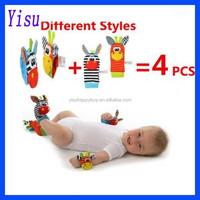 Wholesale Baby Toy 4pcs/Lot Baby Animal Sock + Baby Wrist Rattle