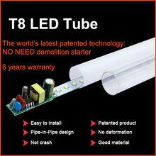 Integrated t8 led tube 2400mm 40W 240cm 8feet Transparent cover Milk cover 85-265V Tube+base All-in-one led fluorescent light