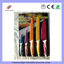 2015 High Quality 5pcs Multi Color Non-Stick Coating Stainless Steel Promotion Kitchen Knife