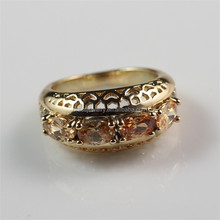 Import Brass Jewelry From China Hot Selling New Fashion Yellow Ruby Gemstone 18K Gold Plated Finger Ring