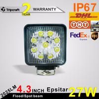 China Source Manufacturer Motorcycle Fishing 27w LED Driving Light (2pcs/lot) 27w LED Spot Work Light Lamp