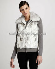 2015 winter women popular zip-front rabbit fur vest with fox collar