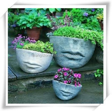 Handmade face shape carving flower planter for garden decoration