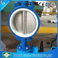 cast iron gear worm operate wafer EPDM seat butterfly valve for sea water dn50