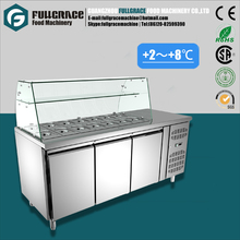 energy-efficient commercial refrigeration equipment glass counter salad display refrigerator with brand compressor