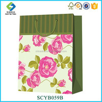 Good Quality Eco-friendly Style Rose Designed Eco Shopping Bag Paper Gift Bag
