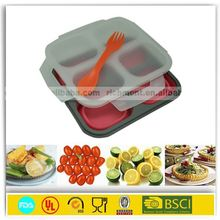 OEM silicone collapsible 3 compartment food container