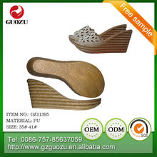 lady wedge pu sandal sole design
