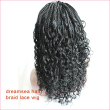 100% virgin peruvian hair lace frontal wigs with silk top natural scalp #1 jet black micro braids wig