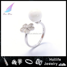 2016 ceramic jewellery attractive silver 925 bead flower zircon ring sizes