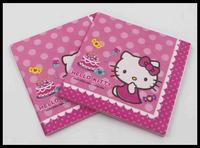 Food-grade Kitty Pre-folded Paper Napkin With Ball Festive & Party Cat Tissue Napkin Printed Cartoon 33cm*33cm