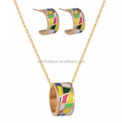 indian terracotta enamel loop necklace earring set shinning jewellery