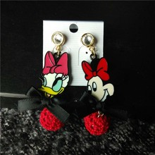 2015 new fashion Mickey mouse silicone cartoon characters drop earring for Disney brand