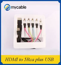 Professional oem 2.0v hdmi to vga adapter 5 rca cable with USB and 1080p 3D ethernet