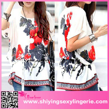 latest design OEM service women summer new fashion chiffon blouse