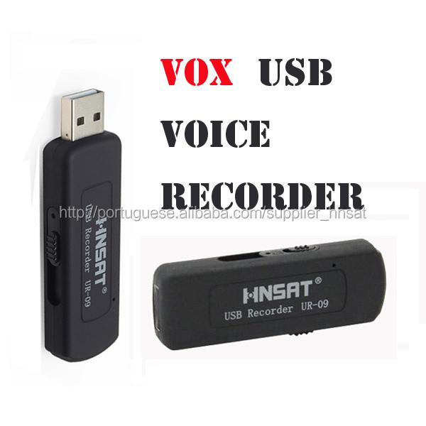 Pequeno gravador de voz USB UR-09 com a função de voz ativado