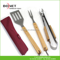 QZB0024 Rubber Wood Handle Stainless Steel BBQ Tool Set