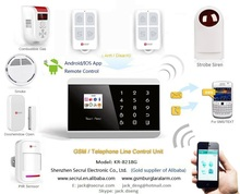Andriod/iOS APP control Touch key GSM+PSTN Contact ID alarm monitoring center home security system ( KR - 8218G )