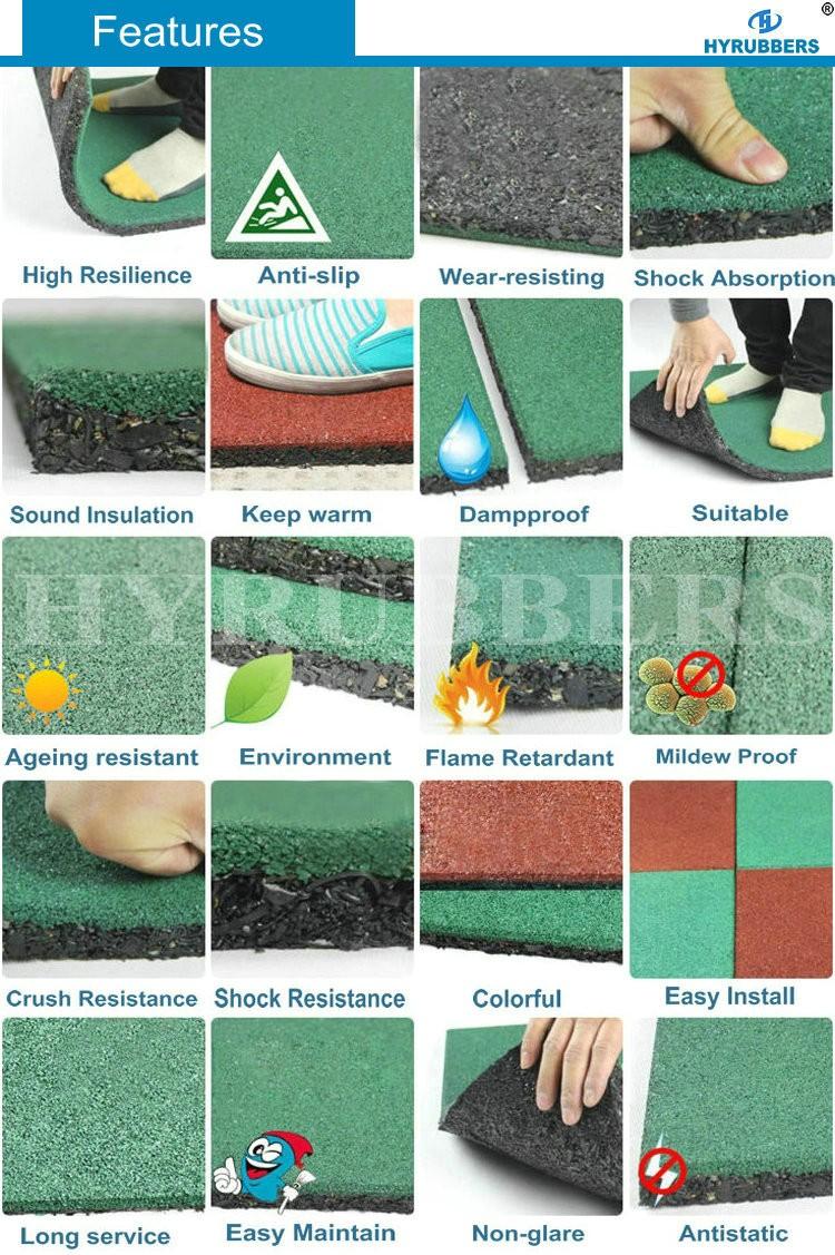 High Quality dog bone square interlock rubber tile manufacturer