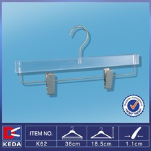New sale clear middle size plastic pants hanger with metal clips K62