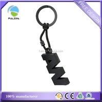 custom black ABS hard plastic blank string keychain