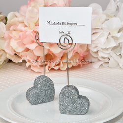 newest glitter silver heart design place card holder table decoration favors