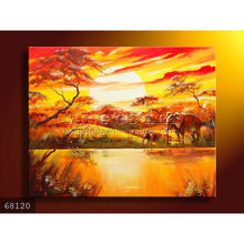 Handmade New Modern African animals landscape oil painting on canvas