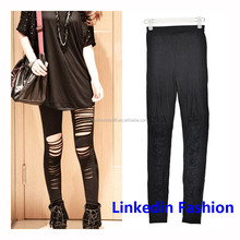 Slashed legging sex toy leggings PU jean jegging pant by Yiwu Linked Fashion Accessories