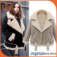 Women's Black Winter Warm Fur coat Imitation lambs wool Zipper lapel Jacket coat