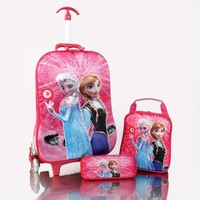 wholesale 3D EVA cartoon children kids travel trolley luggage bag with lunch bag and pencil case