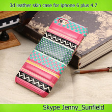 strips thin pc with leather skin case for iphone 6 plus 4.7 , for iphone 6 crystal case with leather cover