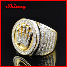factory direct price women finger ring design micro pave cz 18k yellow gold stone ring designs for men