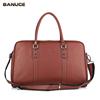 Banuce 100% Top Grains Cow Leather Oversize Shoulder Briefcase Man Travel Luggage Bag