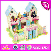 2015 Beautiful toy house for kids,mini house sets toy in stock,High quality wooden toy doll house W06A001