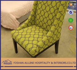 New design modern black MDF frame with green fabric arm leisure chair for bedroom/living room