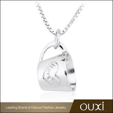 OUXI China wholesale personalized name sterling pure silver chain necklace