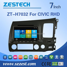 Newest car entertain system for Honda Civic RHD car dvd player with gps support radio BT usb charger zt-h7032