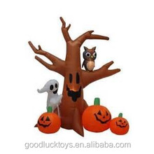 240cmH/8ft inflatable Halloween pumpkins and ghost with decorative tree