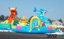 cheap price inflatable bouncy castle with water slide