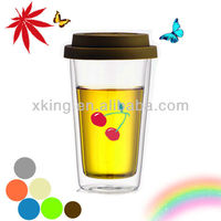 Hot sales Bodum style high borosilicate double wall glass cup with FDA