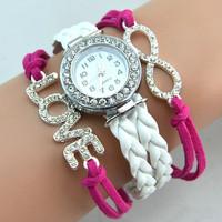 Women's beautiful Colorful Vintage Weave Wrap watch Leather Bracelet Wrist Watch