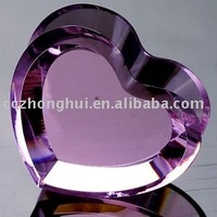 elegant 3d customized design wedding gift heart shape pink color crystal