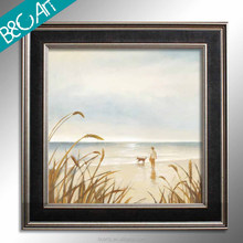Sunshine seaside wall picture boy and dog on the beach modern scenery oil painting