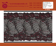 Black flower nylon/silk base lace frontal closure trim fabric for evening dress