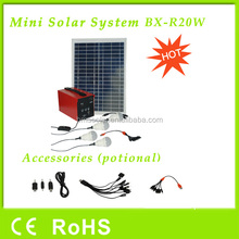 20W solar home system with 4 bulbs, mobile phone charger, laptop charger