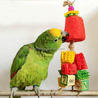 Loofah Sponge Wooden Blocks Bird Parrot Toys Cage Colorful Hanging Chewing Cockatiel Climbing Toys