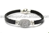 Fashion latest hot sale semi precious stone magnetic bracelet, black band necklace, leather bracelet