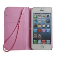 Factory price pink butterfly flip Leather printed Case Cover Skin for iphone5