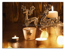Christmas deer LED light printed canvas with candles