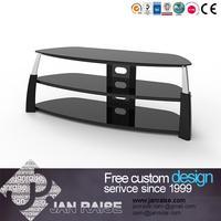 Black color three shelve tv stand